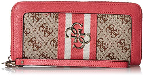 (GUESS Vintage Large Zip Around Wallet, Pink)