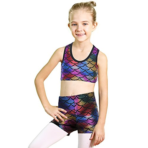 Dance Bra Top (BAOHULU Girls 2PCS Sleeveless Top Bra and Shorts -Butterfly Gymnastics Leotard Dancing Skating Clothes (Tag.No 6A (4-6 Years), Colorful))