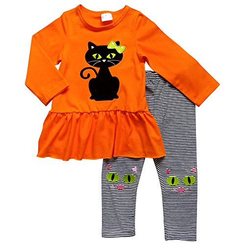 So Sydney Girls Halloween Pumpkin, Candy, or Cat - 2 Piece Ruffle Pants Outfit (XL (6), Knee Patch Cat)