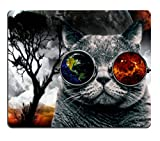 Smooffly Cute Rectangle Mouse Pad Custom,Alien Cat with Nature Manipulation Design Mousepad Non-Slip Rubber Gaming Mouse Pad Rectangle Mouse Pads for Computers Laptop