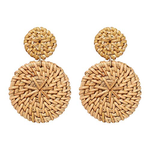 1 Pair Weaving Straw Double Disc Earrings Bohemian Rattan Pendant Declaration Earrings for Women (Coffee)