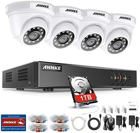 Annke 1080p Überwachungskamera System 4 X 1080p Wetterfest Hd Kamera Außen Und 4ch Dvr Mit 1tb Festplatte 1080p Dome Überwachungskamera Set Bewegungsmelder 30m Ir Nachtsicht Baumarkt
