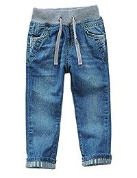 Pandapang Boys Elastic Waist Straight Leg Casual Thin Denim Pants