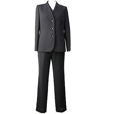 5b24a0e737504 ブラックフォーマル B-GALLERY 喪服 礼服 葬儀 黒 パンツスーツ 3点セット ジャケット ブラウス