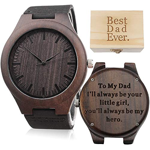 Engraved Wood Watch for Dad Gifts - Ill Always be Your Little Girl, Youll Always be My Hero - Personalized Gifts for Dad Birthday Gifts for Dad Gifts from Daughter