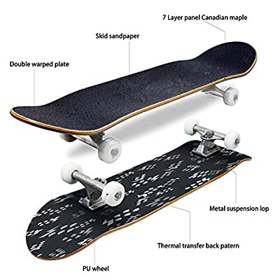 Classic Concave Skateboard Grey icon Isolated Seamless Pattern on Black Background Drop and Longboard Maple Deck Extreme Sports and Outdoors Double Kick Trick for Beginners and Professionals : Sports & Outdoors