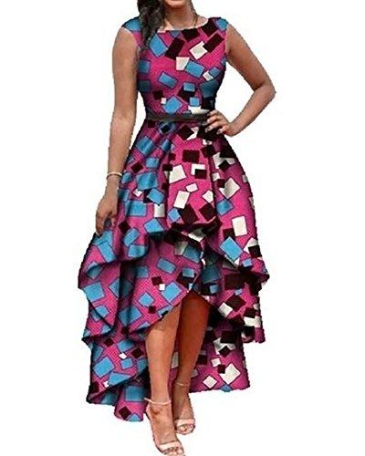 Liyuandian Womens African Print Dresses Cocktail Maxi Empire Waist Dashiki (Asymmetrical Evening Gown)
