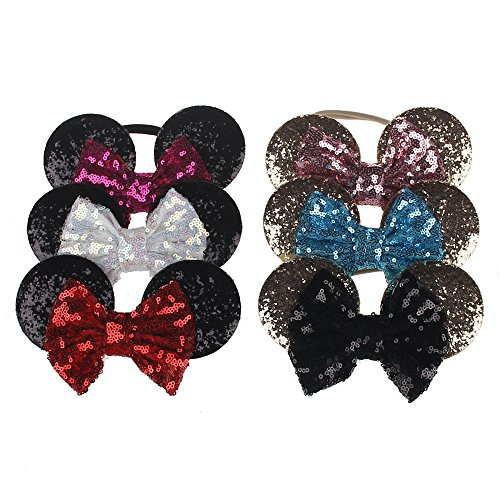 6 Pack New Children's Nylon Headbands Minnie Mouse Ears Headband Hairbands Sequin Bowknot Headwear for Kid's Elastic Hair Accessories - Bulk Minnie Mouse Ears