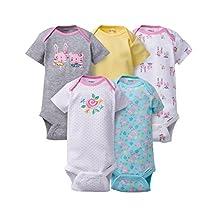 Gerber Baby-Girls Newborn Five-Pack Solid Onesies