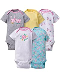 Gerber Baby Girls 5 Pack Variety Bodysuits (6-9 Months,...