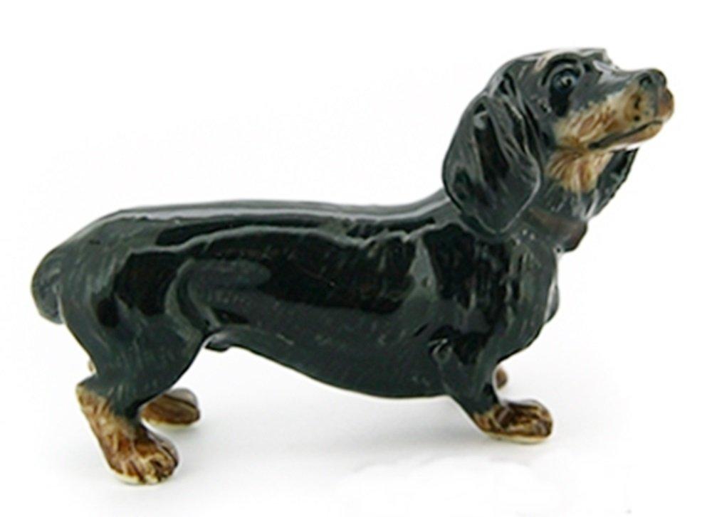 Dollhouse Miniatures Ceramic Black Dachshund Dog size M FIGURINE Animals Decor by ChangThai Design