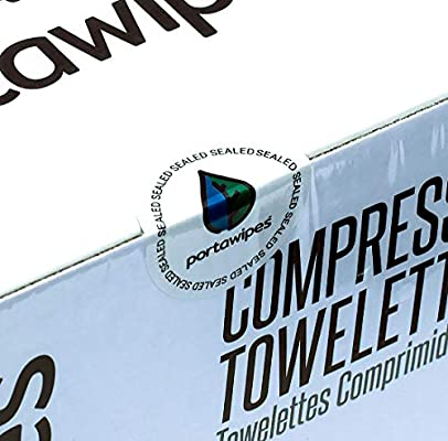 Portawipes Compressed Toilet Paper Tablet Coin Tissues - 500 Bulk Starter Pack with 4 Carrying Cases