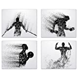 Summit Designs Gym Workout Wall Art Prints - Silhouette – Set of 4 (8x10) Poster Photos - Bedroom - Man Cave