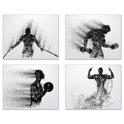 Summit Designs Gym Workout Wall Art Prints - Silhouette – Set of 4 (8x10) Poster Photos - Bedroom - Man Cave by Summit Designs