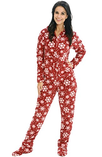 Alexander Del Rossa Womens Fleece Onesie, Hooded Footed