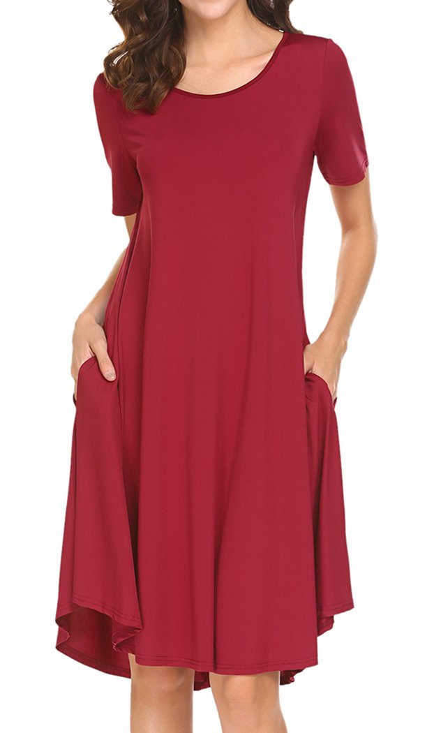 Locryz Womens Solid Draped Loose Beach Casual Flowy Midi Dress Red Medium