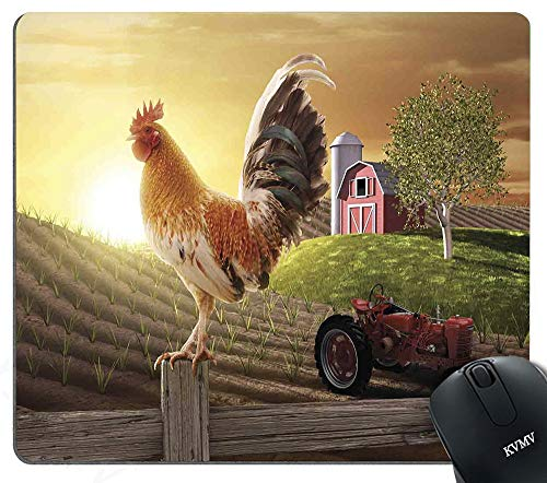 Gaming Mouse Pads Farm Barn Yard Image with Rooster Animal Early Bird Nature and Rising Sun Mouse pad for Notebooks,Desktop Computers Mini Office Supplies Non-Slip Mouse Mats 260mm210mm ()