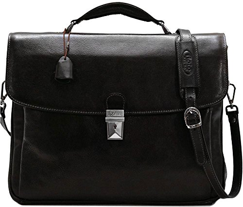 Floto Firenze Laptop Briefcase in Black by Floto