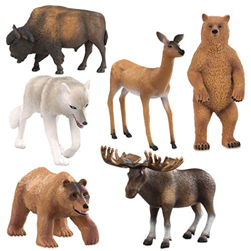 Terra by Battat - North American Animals Set - Realistic Animal Toys with Bison and Bear Toys for Kids 3+ (6 pc)