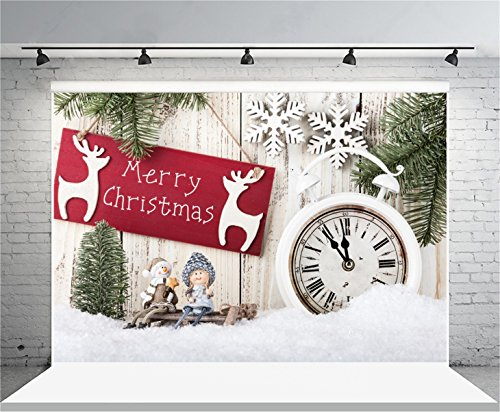 AOFOTO 12x8ft Merry Christmas Photography Background Xmas Decoration Backdrop Snowflake Pine Branch on Wooden Board New Year Kid Baby Girl Portrait Photoshoot Studio Props Video Drape Wallpaper - Weathered Pine Log Set
