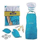 JaxoJoy Premier Chef Set In Blue – Complete Kids Kitchen Gift Playset With Chef'S Hat, Apron, Cooking Mitt & Utensils