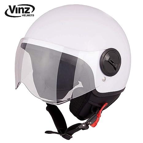 Jet Roller Motorrad Helm XS-XL 57-58 cm in Gr ECE zertifiziert Helm mit Visier , Wei/ß M Vinz Rollerhelm Jethelm Basic