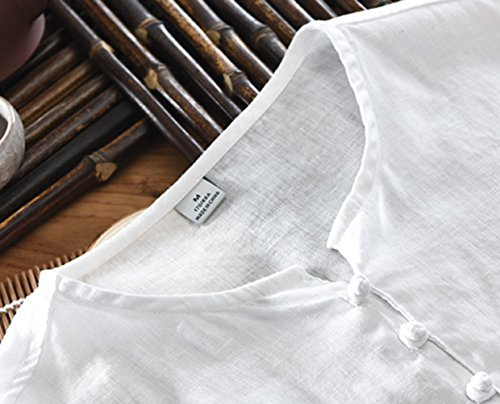Icegrey Camicia Uomo Camicie di Lino a Maniche Corte Henley Shirt Top Pullover Estive Camicia Bianco 46