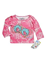 DR. SEUSS THING 1 And THING 2 Baby Girl's 12 Months Tie-Dye Pink Shirt