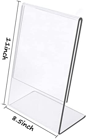Wholesale 8.5 X 11 Slant Back Clear Acrylic Sign Holder 108 Pack Ad Frame Counter or Table Side Load Ad Display