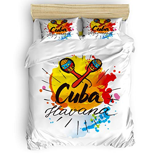 Pink Sky King Duvet Cover Set Comfortable Bedding Sets,Include 1 Duvet Cover 1 Flat Sheet and 2 Pillow Cases,Cuba Havana Illustrations of Humanities Bed Sheet Set