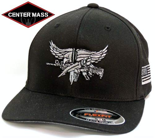 Baseball Flex Fit hat with Grey SWAT Operator Insignia - Black L/XL