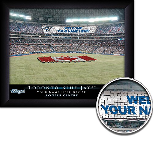 Toronto Blue Jays Personalized MLB Card Stunt Baseball Stadium with Canadian Flag Framed Print 13x16 Inches