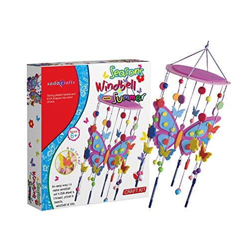 SadoCrafts Seasons Windbell Summer Kit - Fun, Interactive, Educational DIY Wind Chime Kit for Kids, Colorful Plastic Beads, EVA Butterflies, Thread, Windbell Sticks