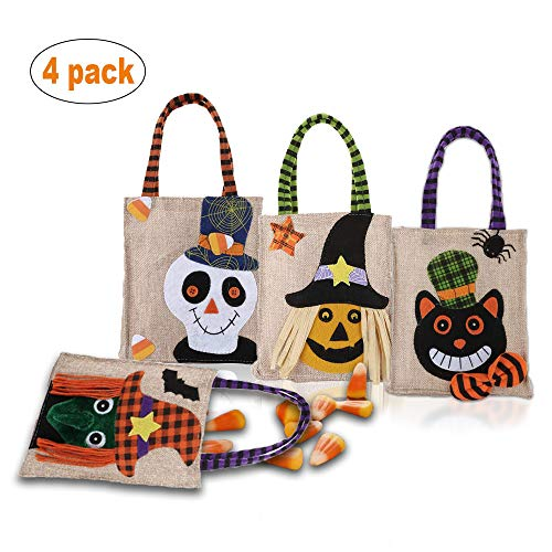 Halloween Tote Bag Reusable Trick or Treat Bag Pumpkin Candy Bags Trick or Treat Goody Bag for Children Halloween Themed Party Set of 4 -
