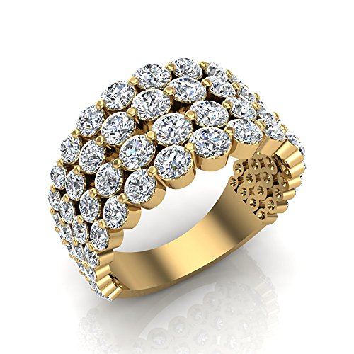 18k Yellow Gold Dome - 18K Yellow Gold Dome Shape Riviera Style Cocktail Diamond Ring-Anniversary Band 3.43 Carat Total Weight (Ring Size 4)