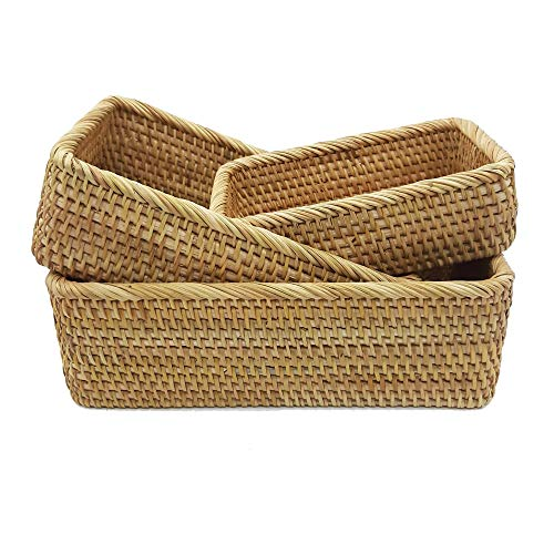 Set of 3 Hand-woven Rattan Boxes. Natural Rattan Storage Baskets. Multipurpose Rectangular Rattan Bowls. Maximum Box With Dimensions -