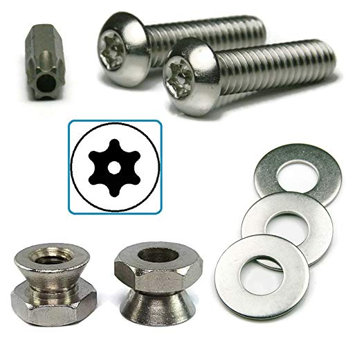 - Stainless Steel Sign Mounting Hardware Tamper Proof Star Drive Screws with Security Nuts Kit 5/16