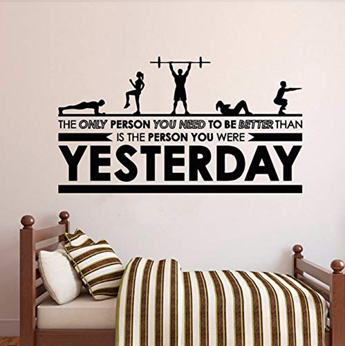 LSFHB Stick to Fitness Vinyl Art Wall Sticker Fitness Removeable Decal Fitness Center Bedroom Home Decoration Art Poster -