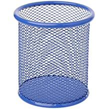 BecauseOf Desk Supplies Organizer, Mesh Pen Holder Metal Pencil Holder Pen Containers (Round, Blue)