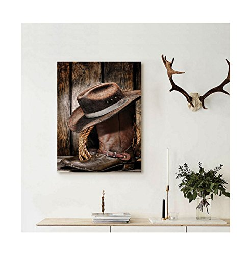 Liguo88 Custom canvas Western Decor Rodeo Dirty and Old Blac