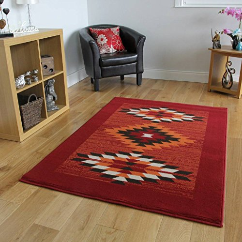 Milan Red, Terracotta, Brown & Off-White Tribal Aztec Area Rug 1632-S55-6'3