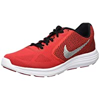Zapatillas de running Nike Revolution 3 para hombre, rojo universitario /plateado metálico /negro, 10 D (M) EE. UU.