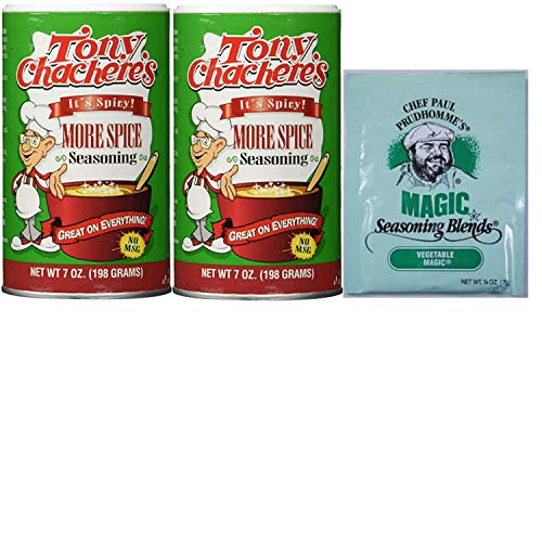 Tony Chachere's Creole Seasoning More Spice Double Pack. Easy Shopping for New Orleans Style Seasonings. Easy to Source These Popular Cajun Spices with 1 Click. Includes Magic Seasoning Sample.