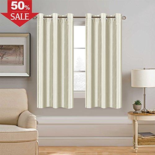 H.VERSAILTEX Faux Silk Satin Curtains 63 inch Length for Bedroom Window Curtain Panels Dupioni Light Reducing Drapes for Living Room Window Treatment Set, Grommet Top, 1 Panel, Ivory Silk Dupioni Window Panel