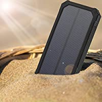 Hudson & Hunt Solar Charger Power Bank 15000mAh Backup, Outdoor, Cell Phone Battery Charger with Dual USB Port, LED Flashlight, and Hook. Smart phone compatible, Iphone, Samsung,..