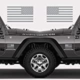 "Automotive : Classic Biker Gear Subdued American Flags Tactical Military Flag USA Decal Jeep 5""x3"" (Matte Grey)"