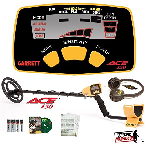 Garrett Ace 150 Metal Detector with Waterproof Coil NIB + HEADPHONES