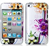 Purple Flower 2d Hard Snap-on Crystal Skin Case Cover Accessory for Ipod Touch 4th Generation 4g 4 8gb 32gb 64gb New By Electromaster