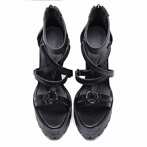 Sandals Carolbar Black Night Womens Platform Club Zip High Heel Sexy Open Toe AqWOrvxAwU