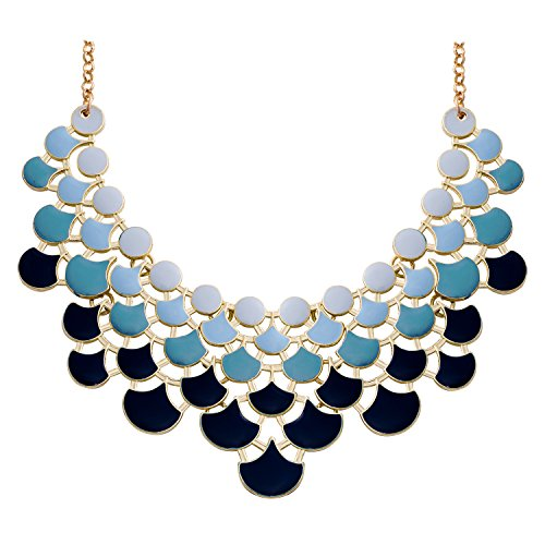 JANE STONE 2017 Fashion Bib Collar Necklace Multicolor Enamel Gold Statement Jewelry for Women(Fn0968-Ombre - Jewelry Beads Necklace Costume Silver